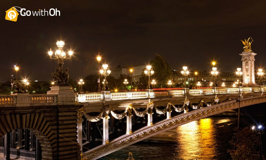 Parisian Bridge at Night