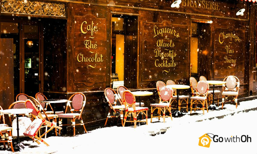 Parisian Cafe in the Snow