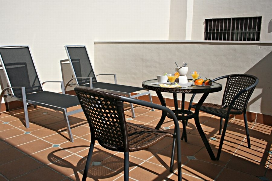 Sun-baked patio