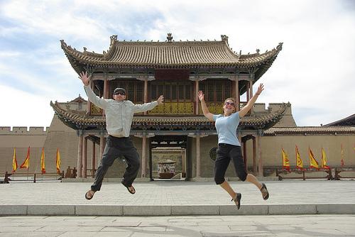 Daniel and Jillian in front of Jiaguyuan Fortress