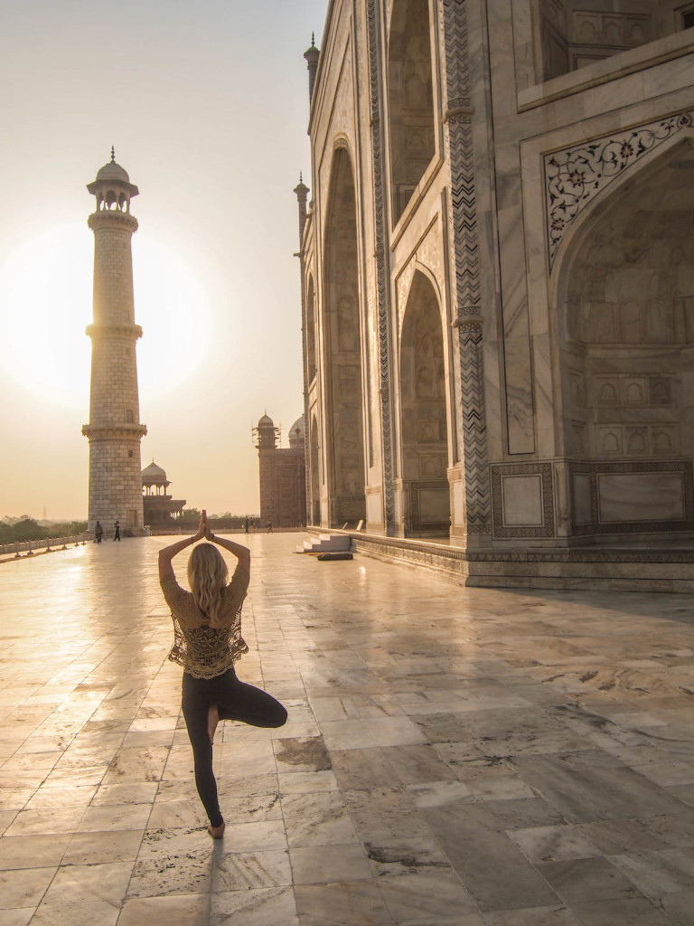 Yoga Tree Pose at The Taj Mahal India